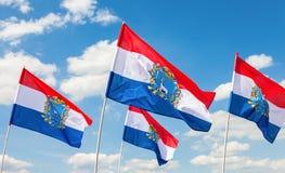 Flaggen von Bundesthemen von Russland Flaggen von Samararegion flut Stockfotografie