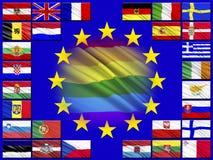 Flaggen von den Ländern, die der Europäischen Gemeinschaft gehören stock abbildung