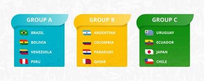 Flaggen von den südamerikanischen Ländern, von Japan und von Katar sortiert von den Gruppen vektor abbildung