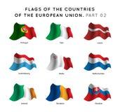 Flaggen von EU-Ländern Lizenzfreies Stockfoto