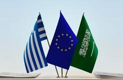 Flaggen von Griechenland EU und von Saudi-Arabien stockfoto