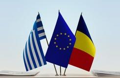 Flaggen von Griechenland EU und von Tschad lizenzfreie stockbilder
