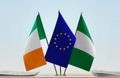 Flaggen von Irland EU und von Nigeria lizenzfreie stockbilder