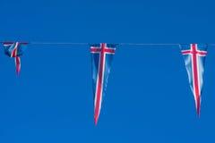 Flaggen von Island auf einem Draht Stockbilder