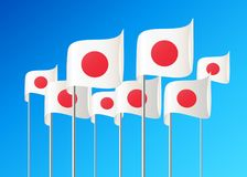 Flaggen von Japan Stockbild