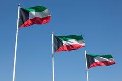 Flaggen von Kuwait Stockfotografie
