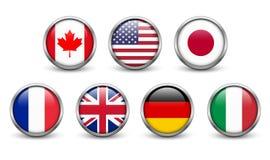 Flaggen von Ländern G7 Lizenzfreie Stockfotografie