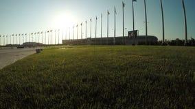 Flaggen von Ländern im Olympiapark stock footage