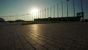 Flaggen von Ländern im Olympiapark stock video footage