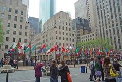 Flaggen von Mitgliedsländern der Vereinten Nationen in New York, USA Lizenzfreie Stockfotografie