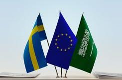 Flaggen von Schweden EU und von Saudi-Arabien lizenzfreies stockbild