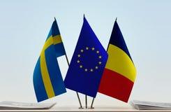 Flaggen von Schweden EU und von Tschad lizenzfreie stockbilder
