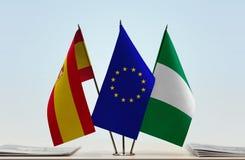 Flaggen von Spanien EU und von Nigeria stockbilder