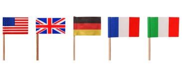Flaggen von USA BRITISCHES Deutschland Frankreich Italien Lizenzfreie Stockfotografie