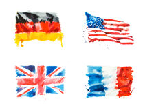 Flaggen von USA, Großbritannien, Frankreich, Deutschland Hand gezeichnete Aquarellillustration Stockfoto
