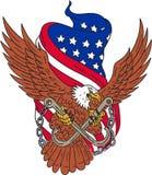 Flaggen-Zeichnung Amerikaner-Eagle Wingss USA Lizenzfreie Stockfotografie