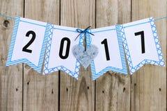 Flaggenfahne des Jahres 2017 mit Zinnherzen Lizenzfreie Stockfotos