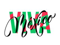 Flaggenfarbe des nationalen Sonderzeichens des Vektors Viva Mexiko-Beschriftung Unabhängigkeitstags mexikanische Stockfotografie
