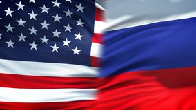 Flaggenhintergrund-, diplomatische und Wirtschaftsbeziehungen Vereinigter Staaten und Russlands stockbild