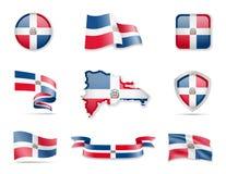Flaggensammlung der Dominikanischen Republik Vektorillustration stellte Flaggen und Entwurf des Landes ein vektor abbildung