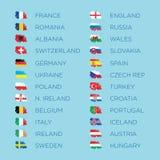 Flaggenvektor-Schablonensatz der näheren Bestimmungen des Euros 2016 Lizenzfreies Stockfoto