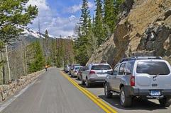 Flagger de sécurité, construction sur les États-Unis 34, le Colorado Images stock
