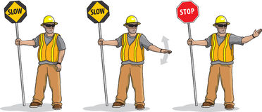 Flagger Men. Illustration of a man in sequence demonstrating the different flagging techniques Royalty Free Stock Photography