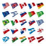 flaggor 1 ställde in världen Fotografering för Bildbyråer