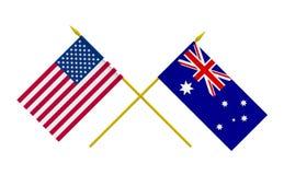 Flaggor, Australien och USA royaltyfri illustrationer