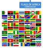 Flaggor av Afrika den färdiga uppsättningen Arkivfoton