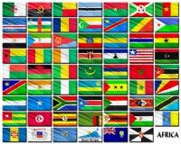 Flaggor av afrikanska länder i alfabetisk ordning Arkivbilder
