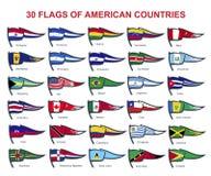 30 flaggor av amerikanska länder royaltyfri illustrationer