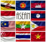 Flaggor av ASEAN-nationer vektor illustrationer