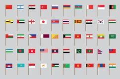 Flaggor av Asien Royaltyfri Foto