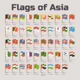 Flaggor av Asien i tecknad filmstil Royaltyfri Foto