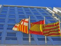 Flaggor av Barcelona, Catalonia, Spanien Royaltyfria Foton
