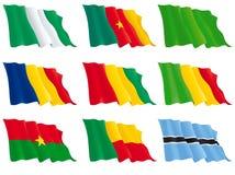 Flaggor av de afrikanska länderna Royaltyfri Fotografi
