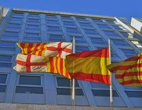 Flaggor av den Barcelona staden, Catalonia och Spanien Arkivbild