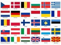 Flaggor av den Europa vektoruppsättningen