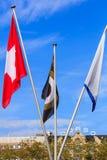 Flaggor av den Schweiz, Zurich filmfestival- och Zurich kantonen Arkivfoton