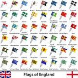 Flaggor av England, UK Fotografering för Bildbyråer