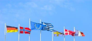 Flaggor av EU, Grekland, Tyskland, Norge, Sverige, Danmark, Frankrike fotografering för bildbyråer