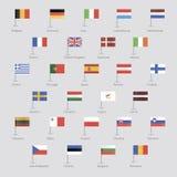 Flaggor av EU-länder vektor illustrationer