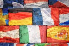Flaggor av EU-länder på tegelstenar Arkivbilder