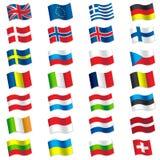 Flaggor av Europa Arkivfoto