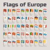 Flaggor av Europa i tecknad filmstil Royaltyfri Bild