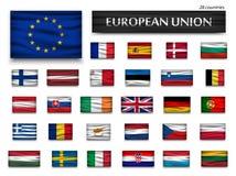 Flaggor av europeisk union och medlemmar Wavy design Isolerad bakgrund Arkivbilder