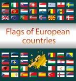 Flaggor av europeiska länder Royaltyfri Foto