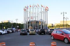 Flaggor av europeiska länder på Europa kvadrerar Royaltyfri Foto