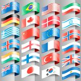 Flaggor av europeiska nationer stock illustrationer